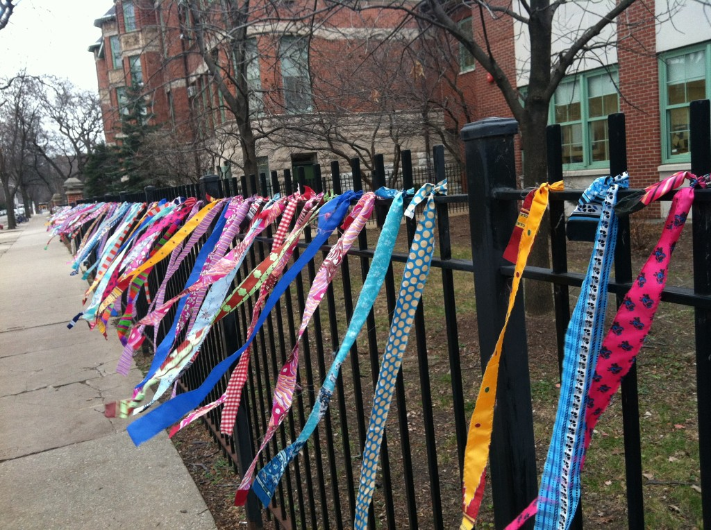 Silk ties decorating the fence at the Ray School on Chicago's Southside